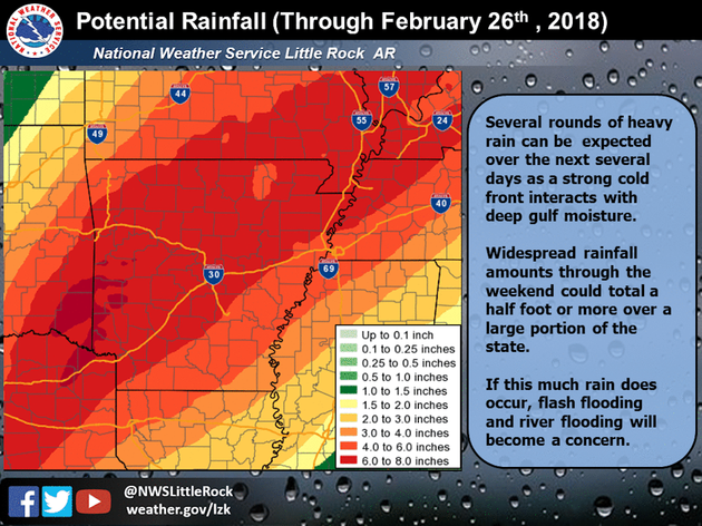 Flood watch winter weather advisory issued for parts of Arkansas as