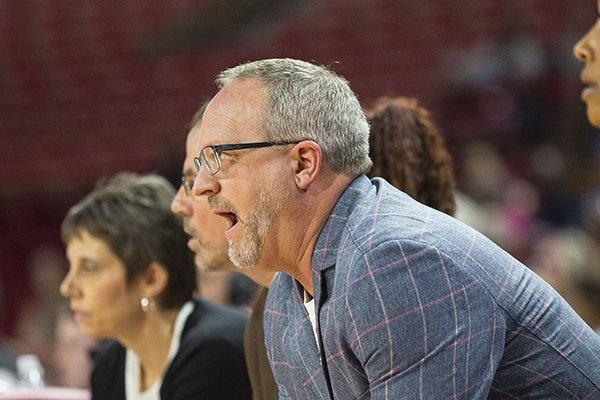 Mike Neighbors, head coach of Arkansas during game against LSU at Bud Walton Arena, University of Arkansas, Fayetteville, AR, on Sunday, February 18,2018. Special to NWA Democrat-Gazette/David Beach