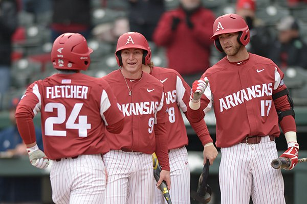 Arkansas Bucknell Saturday, Feb. 17, 2018, during the inning at Baum Stadium in Fayetteville.