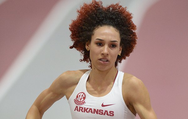 Arkansas' Taliyah Brooks competes in the 4x400-meter relay Saturday, Feb. 10, 2018, during the Tyson Invitational in the Randal Tyson Track Center in Fayetteville.