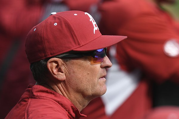 Arkansas coach Dave Van Horn watches from the dugout against Alcorn State Wednesday, March 15, 2017, during the fourth inning at Baum Stadium.