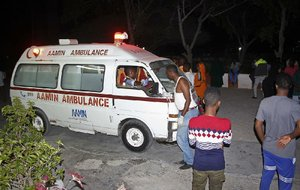 Ambulances arrive at Medina hospital after car-bomb attacks Friday in Mogadishu, Somalia.