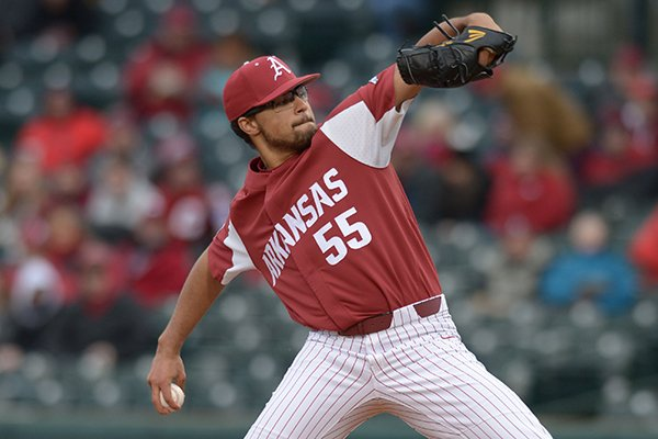 Arkansas pitcher Isaiah Campbell delivers a pitch against Bucknell on Saturday, Feb. 17, 2018, at Baum Stadium in Fayetteville. Campbell will make his second start of the season today vs. San Diego State.