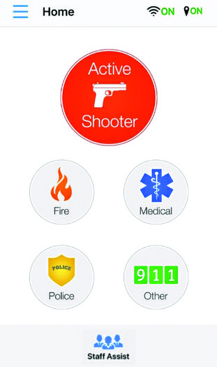 Panic button: A screenshot of the Panic Button app used by both school administrators and teachers in case of emergency.