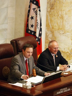House Speaker Jeremy Gillam, R-Judsonia (left), is shown in this file photo.