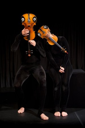 """The new Mummenschanz """"you&me,"""" coming to the Walton Arts Center on Feb. 27, includes a love affair between a violin and a viola."""