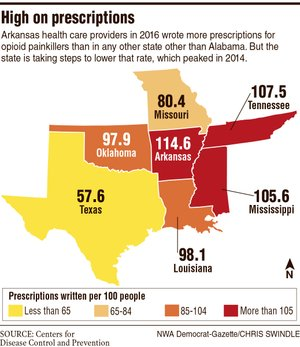 A map showing opioid prescription information.