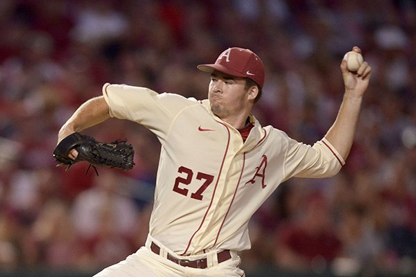 Arkansas sophomore Evan Lee was saddled with his first loss of the season on Sunday in a 7-6 loss to San Diego.