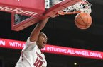 Arkansas' Daniel Gafford dunks against Colorado State Tuesday Dec. 5, 2017 at Bud Walton Arena in Fayetteville.