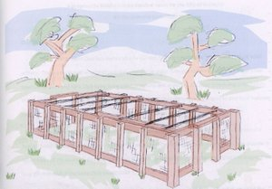 Artist's sketch of proposed human foosball court