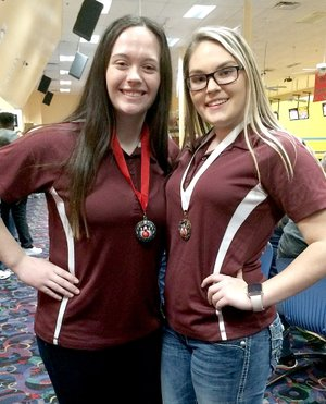 SUBMITTED Ann Dee Holt (left) and Madison Stanfill made the all-state bowling team this season with series scores of 471 and 504.
