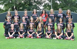RICK PECK/SPECIAL TO MCDONALD COUNTY PRESS The McDonald County High School Lady Mustang softball team was named academic all-state by MSHSAA with the fourth best GPA out of 90 teams in Missouri Class 4. Team members include Caitlyn Hall (front, left), Chloe Colvin, Kristen Cornell, Emily Emmert, Miryan Martinez, Whitney Kinser, Madison Colvin, Jaylie Sanny (middle, left), Katie Kester, Jackie Grider, Kaylee Cornell, Kylie Helm, Deorica Zamora, Yzabelle Delacruz, Rita Santillan, Cloee Helm (back, left), Kaylee Eberley, Alison Nicoletti, Alexa Hopkins, Bekah Hitt (manager), Kenzie Stephens, Lilli Ramirez and Leslie Yousey.