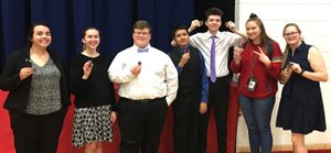 RICK PECK/Special to McDonald County Press Eight students from McDonald County High School won medals at the recent Big 8 Debate Tournament, Payton Sargent (left), Ryleigh England, Luke Boze, Frank Valagran, Bo Pierce, Jessikah Lilly and Cylee Drake.
