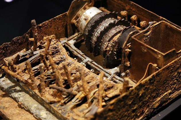 an-enigma-machine-destroyed-by-german-troops-in-the-field-is-displayed-at-spyscape-in-new-york-visitors-to-the-new-attraction-in-new-york-can-learn-about-the-elements-of-spying-its-history-and-what-kind-of-spy-they-could-be