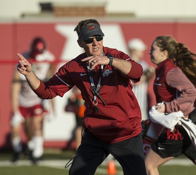 nwa-democrat-gazetteben-goff-drill-team-new-arkansas-razorbacks-head-football-coach-chad-morris-leads-drills-thursday-during-his-first-spring-football-practice-with-the-team-at-the-fred-w-smith-football-center-in-fayetteville