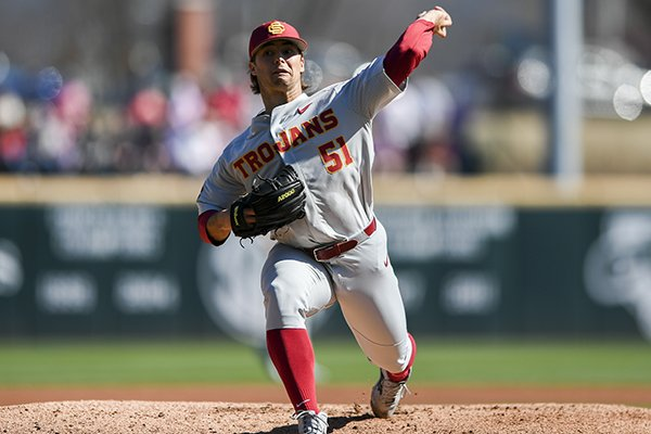 Southern Cal pitcher Quentin Longrie throws a pitch during a game against Arkansas on Saturday, March 3, 2018, in Fayetteville.