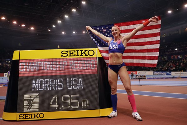 United States' Sandi Morris poses after winning the gold medal and setting a championship record in the women's pole vault final at the World Athletics Indoor Championships in Birmingham, Britain, Saturday, March 3, 2018. (AP Photo/Matt Dunham)
