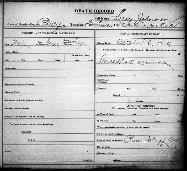 this-is-the-death-certificate-of-leroy-johnson-one-of-four-brothers-killed-during-the-elaine-massacre-johnson-had-recently-returned-from-fighting-in-world-war-i-serving-as-part-of-the-369th-infantry-popularly-known-as-the-harlem-hellfighters