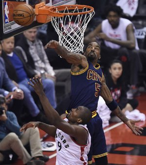 Cleveland Cavaliers guard J.R. Smith (top) is not offering any reasons as to why he threw a bowl of soup at assistant coach Damon Jones, earning him a one-game suspension.
