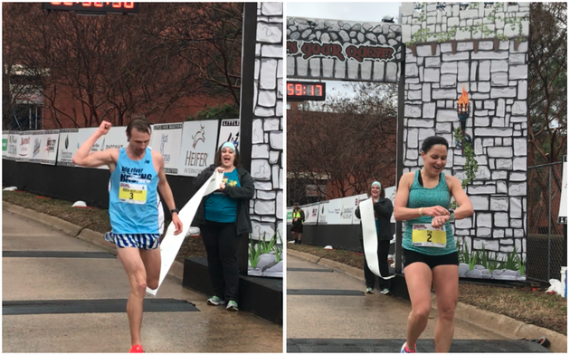 drew-mueller-left-crosses-the-finish-line-to-win-the-mens-2018-little-rock-marathon-at-right-tia-stone-is-shown-shortly-after-winning-the-womens-race