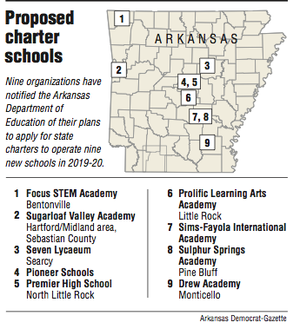 A map showing proposed charter schools