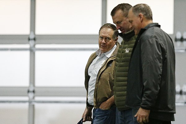 new-england-patriots-coach-bill-belichick-left-and-former-arkansas-coach-bret-bielema-center-walk-the-field-during-alabamas-pro-day-wednesday-march-7-2018-in-tuscaloosa-ala-the-event-is-to-showcase-players-for-the-upcoming-nfl-football-draft-ap-photobrynn-anderson