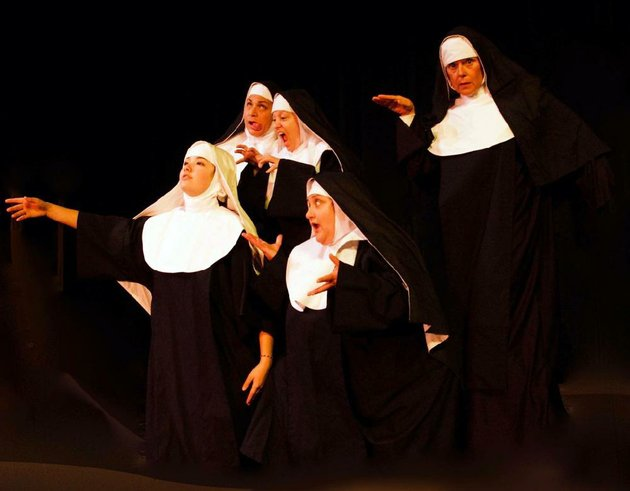 the-cast-of-nunsense-at-the-lyric-theater-in-harrison-from-left-serena-bolonsky-lisa-johnson-jeanie-hunt-karen-mckaig-and-ann-lemley