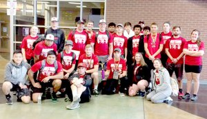 RICK PECK/SPECIAL TO MCDONALD COUNTY PRESS McDonald County High School took third place in the Junior Men's Division and fifth place in the Men's Division at the Belton High School Powerlifting Meet held Saturday at Belton High School.