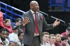 Arkansas coach Mike Anderson looks toward his players during a Southeastern Conference Tournament game against South Carolina on Thursday, March 8, 2018, in St. Louis.