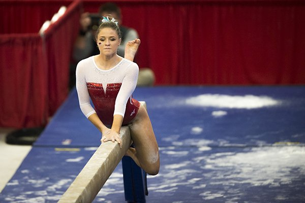 Arkansas gymnast Amanda Wellick performs on the beam during a meet against Georgia on Friday, Jan. 26, 2018, at Barnhill Arena in Fayetteville.