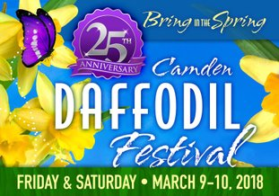 Camden Daffodil Festival is set The 25th Annual Camden Daffodil Festival will be held Friday and Saturday in downtown Camden and surrounding areas. The event will feature food vendors, craft vendors, tours of homes and local farms, activities for kids, and more. Some roadways in downtown Camden will be blocked off beginning Thursday night. See article.