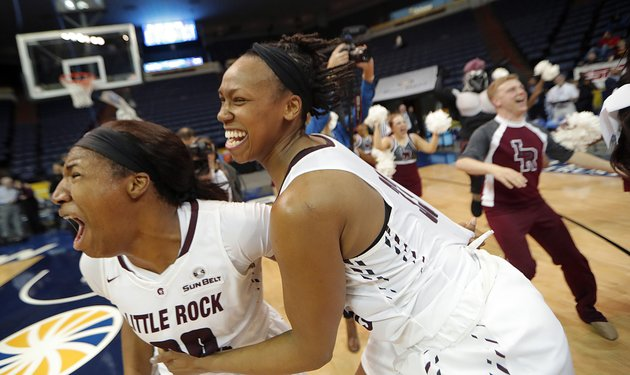 ualr-forward-ronjanae-degray-left-and-forward-keanna-keys-celebrate-their-victory-over-texas-state-in-the-sun-belt-conference-ncaa-college-basketball-championship-game-in-new-orleans-sunday-march-11-2018-ualr-won-54-53-ap-photogerald-herbert