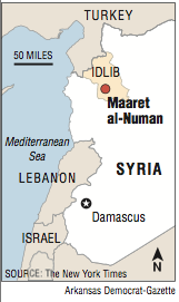 A map showing the location of Maaret al-Numan
