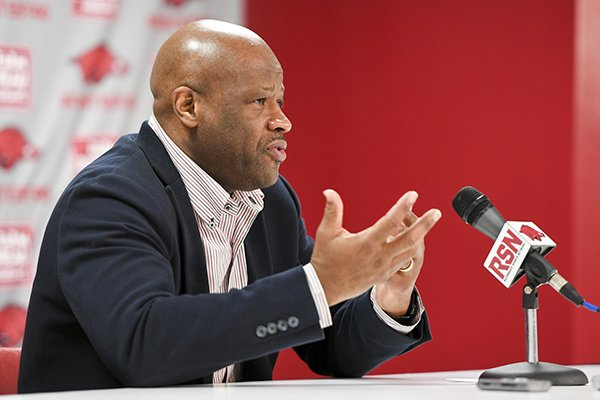 Arkansas Razorbacks head coach Mike Anderson fields questions during a media conference after the NCAA selection show, Sunday, March 11, 2018 at Bud Walton Arena in Fayetteville. The Razorbacks will play Butler in Detroit on Friday.