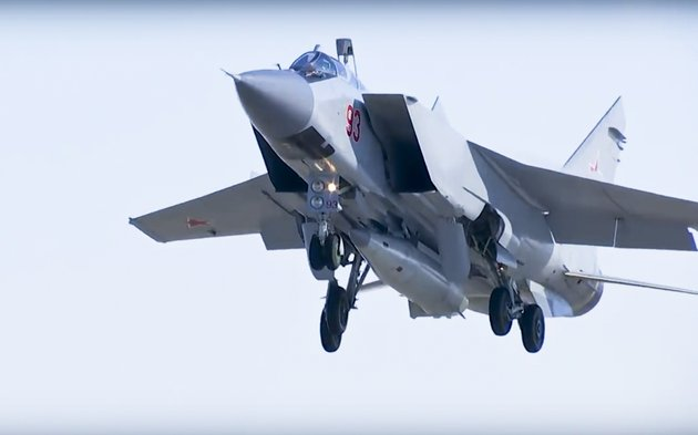 in-this-photo-made-from-the-footage-taken-from-russian-defense-ministry-official-web-site-on-sunday-march-11-2018-a-mig-31-fighter-jet-of-the-russian-air-force-carrying-the-new-kinzhal-hypersonic-missile-takes-off-from-an-air-base-in-southern-russia-the-russian-military-says-it-has-run-a-successful-test-of-the-kinzhal-missile-that-president-vladimir-putin-sited-among-several-other-new-nuclear-weapons-that-would-bolster-the-nations-military-capability-ap-photo-russian-defense-ministry-press-service-file