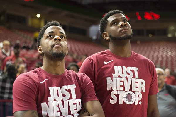 arkansas-razorbacks-guard-daryl-macon-left-and-forward-trey-thompson-right-watch-the-ncaa-selection-show-sunday-march-11-2018-at-bud-walton-arena-in-fayetteville-the-razorbacks-will-play-butler-in-detroit-on-friday