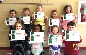 Photo submitted First-grade students are shown after receiving their Big 3 Awards March 2: Kyrie Conklin (front, left), Nelly King, Rosemary Wilson, Richard McNames, Bradley DeGraf (back, left), Ezekiel Bright, Leon Gil-Torres, Medra Trosper and Bella Franco.