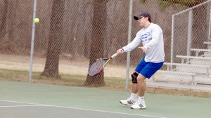 Photo courtesy of JBU Sports Information John Brown's Cade Cox improved to 4-1 in singles with a victory on Monday, helping JBU to a 5-4 team win against William Jewell at the JBU Tennis Courts.