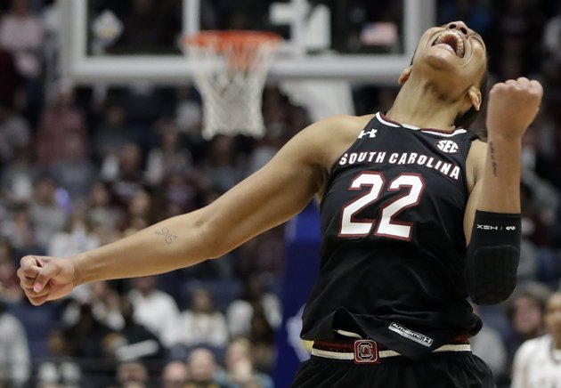 in-this-march-4-2018-file-photo-south-carolina-forward-aja-wilson-celebrates-after-her-team-defeated-mississippi-state-in-an-ncaa-college-basketball-championship-game-at-the-womens-southeastern-conference-tournamen-in-nashville-tenn