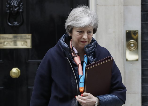 britains-prime-minister-theresa-may-leaves-downing-street-to-attend-parliament-for-the-chancellors-spring-statement-in-london-tuesday-march-13-2018-may-said-on-monday-that-russian-ex-spy-sergei-skripal-and-his-daughter-had-been-poisoned-with-novichok-a-military-grade-nerve-agent-of-a-type-developed-in-the-soviet-union-near-the-end-of-the-cold-war-ap-photokirsty-wigglesworth