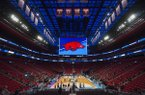 An Arkansas logo appears on the videoboard at Little Caesars Arena during the Razorbacks' practice Thursday, March 15, 2018, in Detroit.