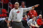 Arkansas head coach Mike Anderson points during practice at the NCAA men's college basketball tournament in Detroit, Thursday, March 15, 2018. Arkansas plays Butler in the first round on Friday. (AP Photo/Paul Sancya)