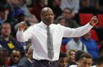 Arkansas head coach Mike Anderson reacts against Butler during the second half of an NCAA men's college basketball tournament first-round game in Detroit, Friday, March 16, 2018. (AP Photo/Paul Sancya)