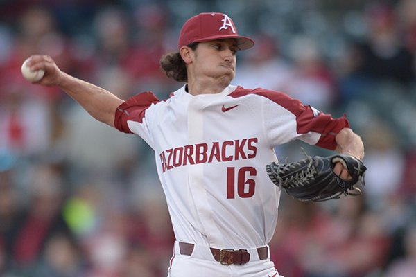 Arkansas pitcher Blaine Knight throws during a game against Kentucky on Friday, March 16, 2018, in Fayetteville.