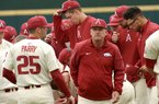 NWA Democrat-Gazette/ANDY SHUPE Arkansas coach Dave Van Horn speaks to his team  before the Razorbacks' game with Dayton Wednesday, Feb. 28, 2018, at Baum Stadium. Visit nwadg.com/photos to see more photographs from the game.