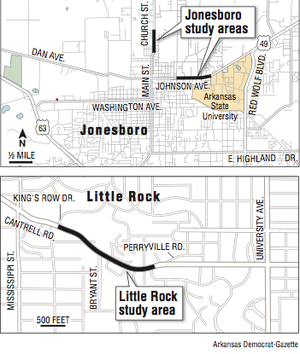 Maps showing the Little Rock study area and the Jonesboro study areas