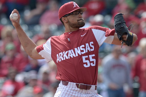 Arkansas pitcher Isaiah Campbell throws during a game against Kentucky on Saturday, March 17, 2018, in Fayetteville.
