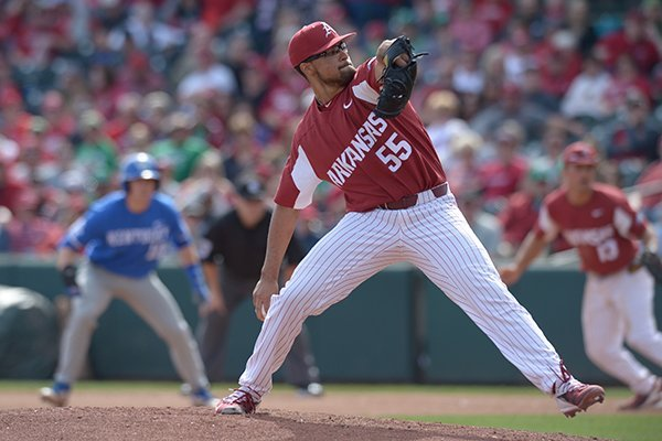 Arkansas pitcher Isaiah Campbell throws a pitch during a game against Kentucky on Saturday, March 17, 2018, in Fayetteville.