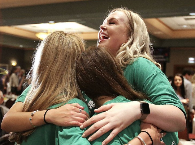 university-of-arkansas-for-medical-sciences-students-from-left-shannon-petrus-caitlin-claridge-and-jasmine-haller-celebrate-their-matches-friday-in-little-rock-petrus-general-surgery-residency-will-be-at-uams-for-their-residencies-in-obstetrics-gynecology-claridge-is-going-to-case-western-metrohealth-medical-center-in-cleveland-and-haller-will-go-to-the-university-of-missouri-kansas-city