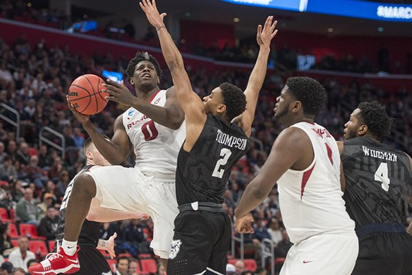 Arkansas guard Jaylen Barford goes up for a shot during a NCAA Tournament game against Butler on Friday, March 16, 2018, in Detroit.